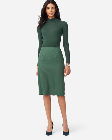 SEASONLESS WOOL PENCIL SKIRT IN GARDEN GREEN