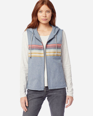 ALTERNATE VIEW OF WOMEN'S HOODED WOOL VEST IN BLUE/GOLD STRIPE