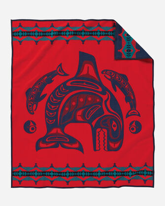 ADDITIONAL VIEW OF SEA CHIEF BLANKET IN NAVY/RED