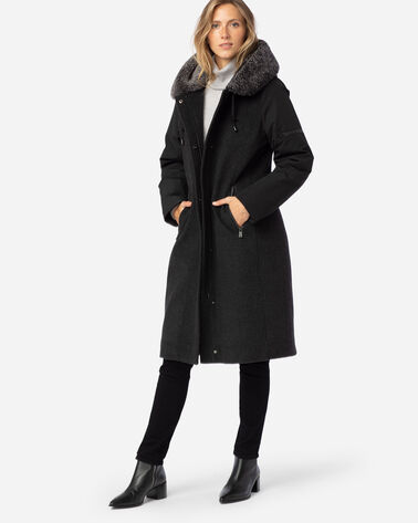 WOMEN'S ALBANY SHEARLING-HOODED COAT IN CHARCOAL/BLACK