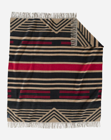 ALTERNATE VIEW OF PINYON STRIPE FRINGED THROW IN BLACK