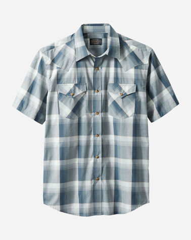 MEN'S SHORT-SLEEVE FRONTIER SHIRT IN BLUE/GREY PLAID