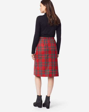 PLEAT FRONT WOOL FLANNEL SKIRT, RED STEWART TARTAN, large