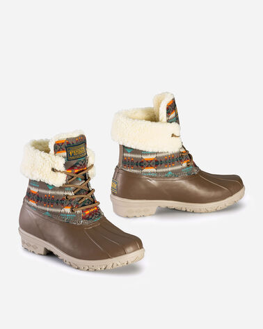 ALTERNATE VIEW OF WOMENS BASKET MAKER ROLL TOP DUCK BOOTS IN CAFE