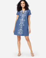 TALA EMBROIDERED SHIFT DRESS IN LAKE BLUE