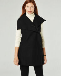 TAMI BOILED WOOL TUNIC VEST, BLACK, large