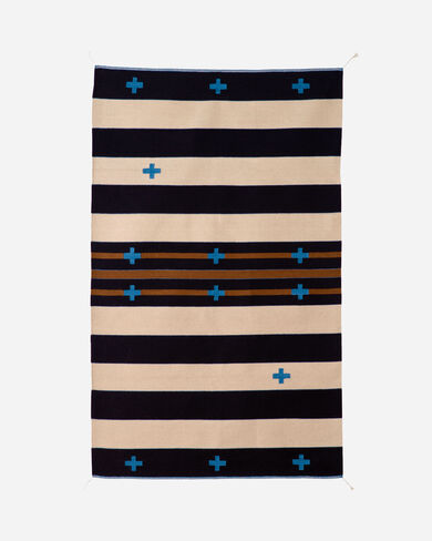 TURQUOISE CROSSES RUG IN CREAM/BLUE