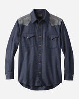 MEN'S PIECED JACQUARD CANYON SHIRT, NAVY MIX, large