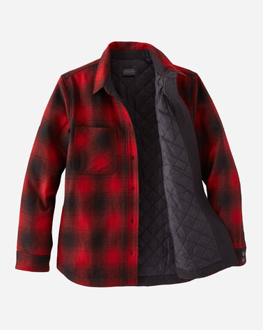 ALTERNATE VIEW OF WOMEN'S QUILTED WOOL SHIRT JACKET IN RED/BLACK OMBRE