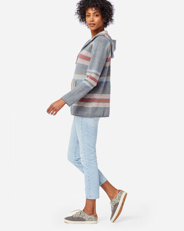 ALTERNATE VIEW OF WOMEN'S STRIPED HOODIE COTTON SWEATER IN SOFT GREY HEATHER