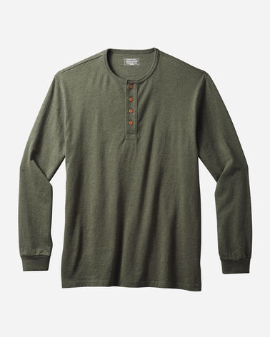 MEN'S LONG-SLEEVE DESCHUTES HENLEY, ARMY GREEN HEATHER, large