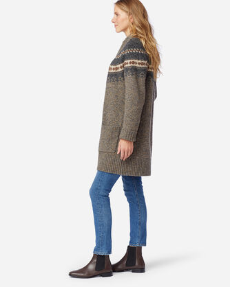 ALTERNATE VIEW OF WOMEN'S DONEGAL MERINO CARDIGAN IN GREY