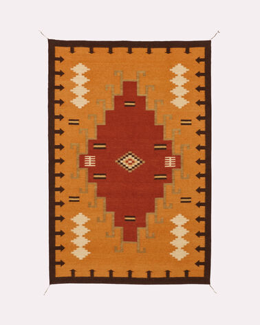1920S DIAMONDS RUG, PUMPKIN/RED, large