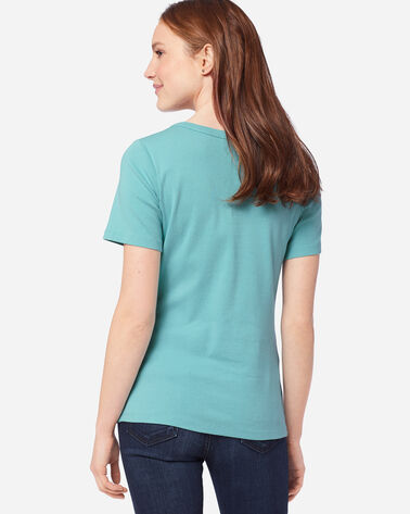 ADDITIONAL VIEW OF WOMEN'S SHORT-SLEEVE COTTON RIBBED TEE IN AQUA