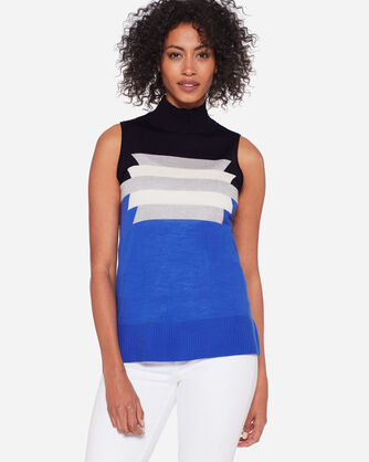 GRAPHIC MERINO SLEEVELESS MOCK NECK, , large