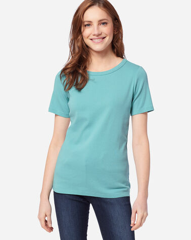 WOMEN'S SHORT-SLEEVE COTTON RIBBED TEE