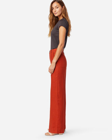 ALTERNATE VIEW OF WOMEN'S WIDE LEG LINEN PANTS IN RED OCHRE