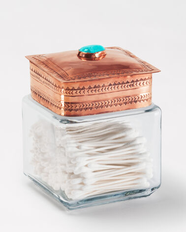 SMALL GLASS CANISTER IN COPPER