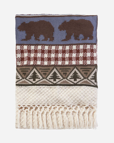 PINE LODGE KNIT THROW, IVORY, large