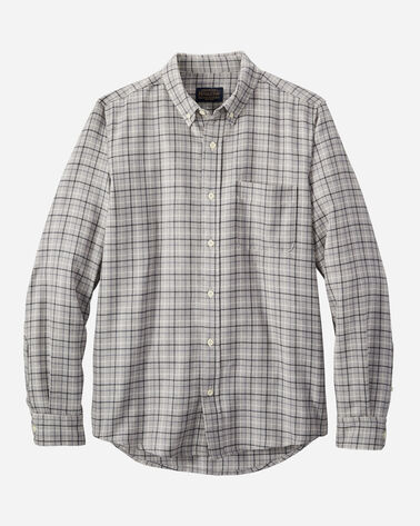 MEN'S FITTED EVERGREEN MERINO SHIRT IN GREY MIX WINDOWPANE
