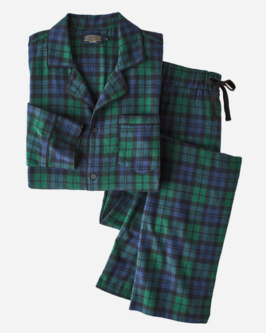 FLANNEL PAJAMA SET, BLACK WATCH TARTAN, large