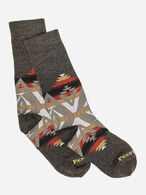 PACIFIC CREST CREW SOCKS IN BROWN HEATHER