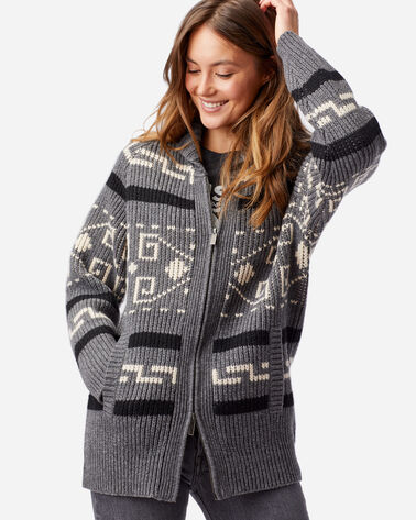 ALTERNATE VIEW OF WOMEN'S LONG WESTERLEY CARDIGAN IN GREY/BLACK