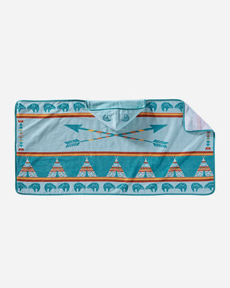 STAR GUARDIAN HOODED TOWEL IN TURQUOISE