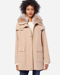 OVERSIZED FUR TRIM DUFFEL COAT, SAND, large