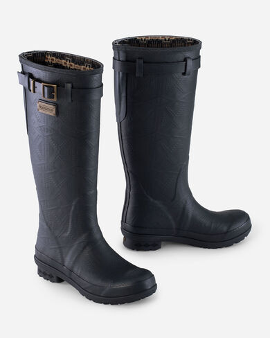 HERITAGE EMBOSSED TALL RAIN BOOTS IN BLACK