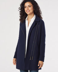 HELENA BOILED WOOL ZIP JACKET, BLUE, large