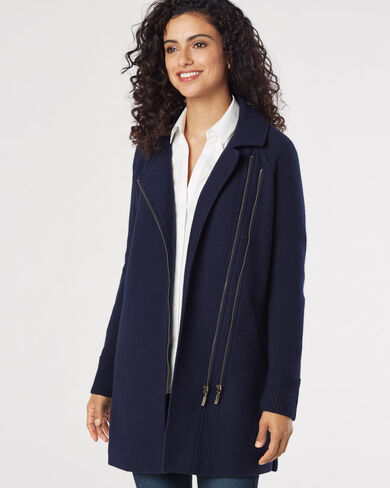 HELENA BOILED WOOL ZIP JACKET, , large
