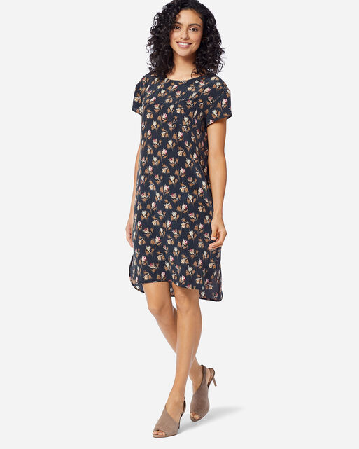 SILK SHIFT DRESS IN NAVY ROSE CITY FLORAL