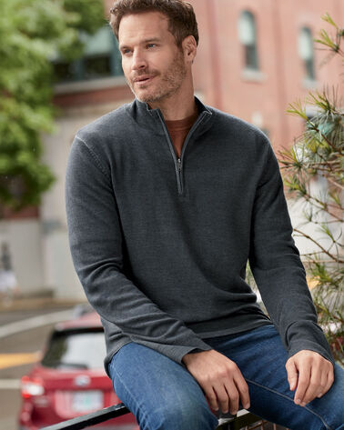 ADDITIONAL VIEW OF MEN'S MAGIC-WASH MERINO QUARTER ZIP IN CHARCOAL