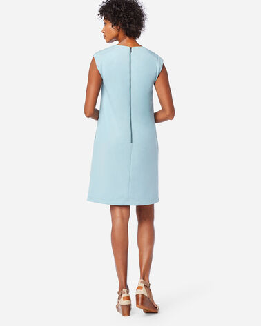 ALTERNATE VIEW OF SEASONLESS WOOL CHARLI SHIFT DRESS IN DUSTY AQUA