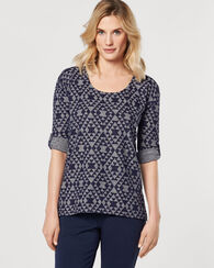 ROLL-SLEEVE HIGH-LOW TOP, NAVY HEATHER, large
