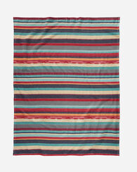 CHIMAYO STRIPE COTTON BLANKET, GARNET, large