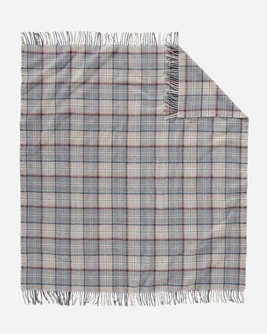 ECO-WISE WOOL FRINGED THROW, PEARL PLAID, large