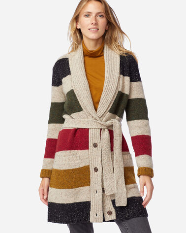 WOMEN'S GLACIER STRIPE CARDIGAN IN TAN STRIPE