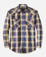 MEN'S LONG-SLEEVE FRONTIER SHIRT IN BLUE/NAVY/BROWN PLAID