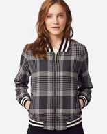 WOMEN'S ZIP FRONT PLAID BOMBER JACKET IN TAN/BLACK CHECK