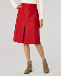 PLEAT FRONT WOOL FLANNEL SKIRT, TANGO RED, large