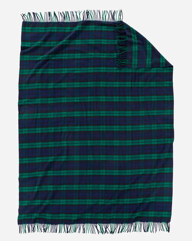 ADDITIONAL VIEW OF PLAID 5TH AVENUE MERINO THROW IN BLACK WATCH
