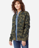WOMEN'S BOILED WOOL BOMBER JACKET IN OLIVE CAMO