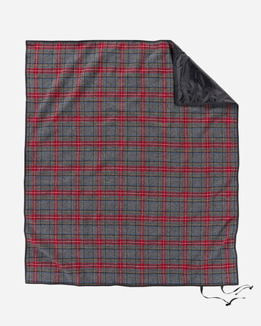 ADDITIONAL VIEW OF ROLL-UP BLANKET IN CHARCOAL STEWART TARTAN