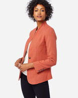WOMEN'S COLLARLESS ONE BUTTON BLAZER IN TERRA COTTA