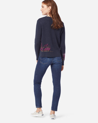 ADDITIONAL VIEW OF WOMEN'S ROSE CITY PULLOVER SWEATER IN NAVY/ROSE