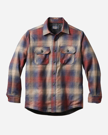 MEN'S QUILTED SHIRT JACKET, RED/BLUE OMBRE, large