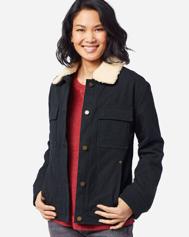 WOMEN'S SIDNEY QUILTED BARN COAT, BLACK, large