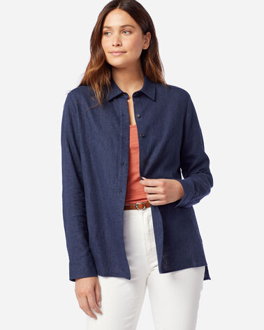 WOMEN'S WASHED LINEN TUNIC SHIRT